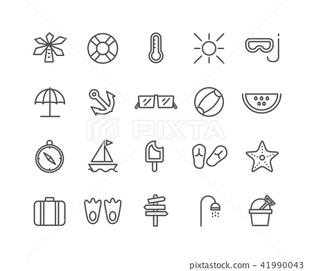 Simple Set of Summer vector thin line icons 41990043