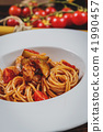 Spaghetti with chicken meat 41990457