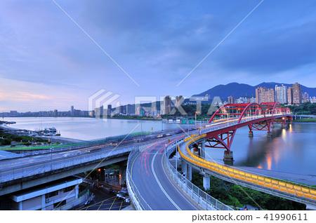 탐 수이 강 관두 대교 타이페이 풍경 강 41990611