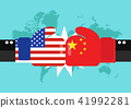 Conflict between USA and China with world map 41992281