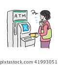 使用ATM的中年女性例證 41993051