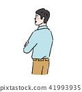 側身肌肉與手臂的手繪插圖 41993935