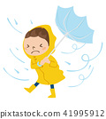 Illustration of a boy in a dangerous state as it is about to be blown out in the rain and the wind 41995912