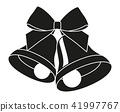 Black and white two bells with ribbon bow silhouette 41997767