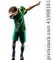 young teenager soccer player man silhouette isolated celebration 41998161