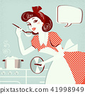 Portrait of housewife cooking soup 41998949