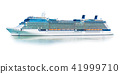 Big cruise ship liner ferry isolated on white 41999710