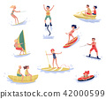 Extreme water sports set, waterski, flyboarding, windsurfing, surfing, paddleboarding, wakeboarding 42000599