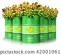 Biofuel drums with sunflowers isolated on white 42001061