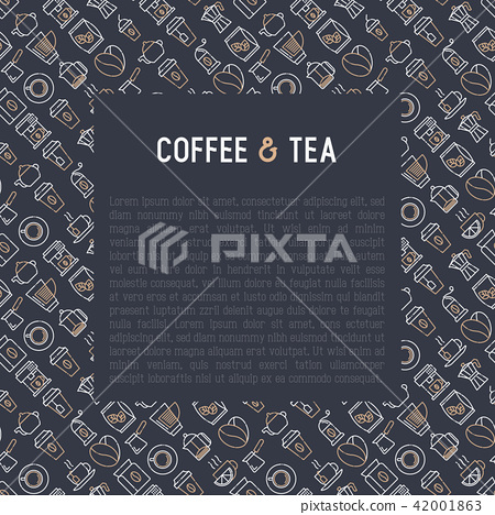 Coffee and tea concept with thin line icons 42001863