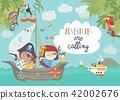 Cute pirates sailing in their ship 42002676