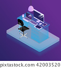 work place with office supplies vector isometric 42003520