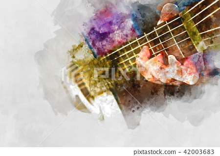 Playing acoustic guitar watercolor painting. 42003683
