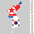 Background of north and south korea map and flag 42003921