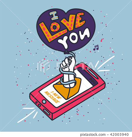 Stroked Phone With Text I love you 42003940