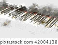 Abstract piano on Watercolor painting background 42004138