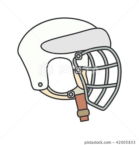 Color vector icon hockey, rugby, baseball defense helmet. Sport equipment success symbol. Head 42005833