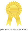 Gold color ribbon award banner on white background 42006088