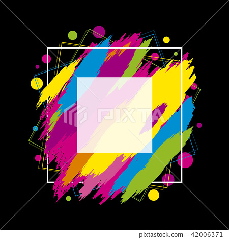Colorful paint brush stroke with line frame 42006371