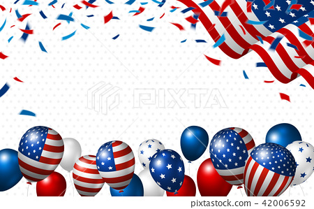 American flag and balloon with copy space 42006592