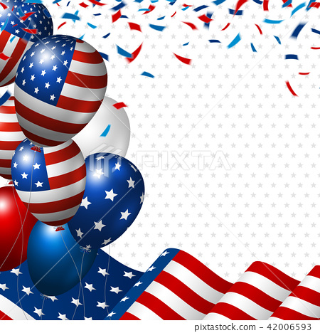 American flag and balloon with copy space 42006593