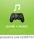 Gamepad or joypad black with pixel music note 42006743
