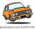 國內減速火箭的跑車橙色汽車例證 42007295
