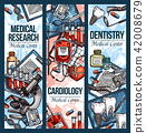 Vector sketch banners for dentistry and cardiology 42008679