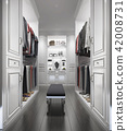 classic white wood walk in closet with wardrobe 42008731