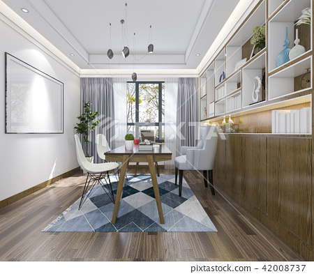 modern wood minimal working room 42008737