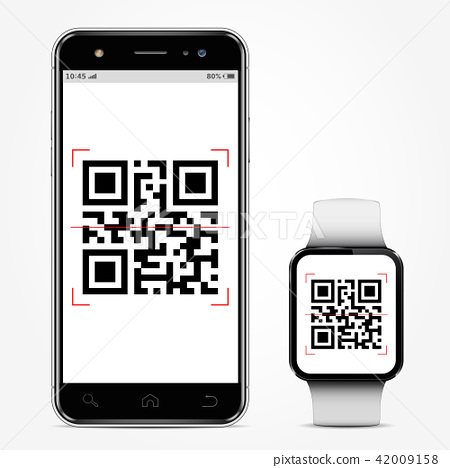 Mobile phone and smart watch with qrcode on screen 42009158