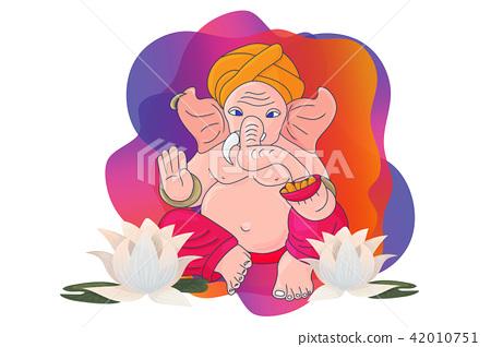 Ganesh Sankashti or Angarki chaturthi vector illustration: Lord Ganapati Vinayaka with lotus flowers 42010751