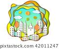 city, town, papercut 42011247