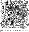 Doodle cute Monster background ,Hand draw 42011895
