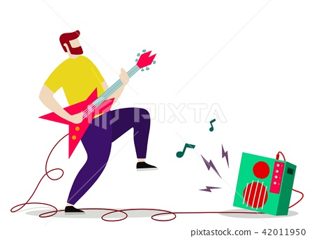 Young man with beard playing electric guitar.  42011950