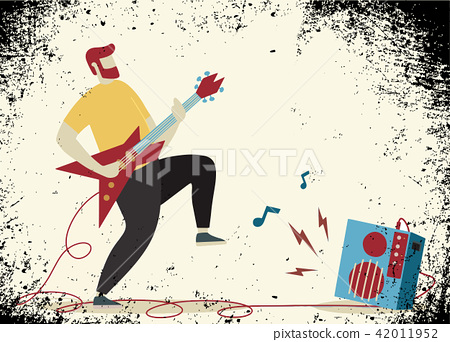 Young man with beard playing electric guitar.  42011952