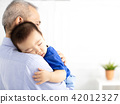 Grandfather Holding Sleeping Grandson baby 42012327