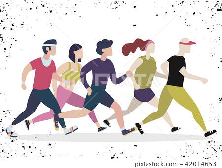 Jogging people. Runners group in motion 42014653