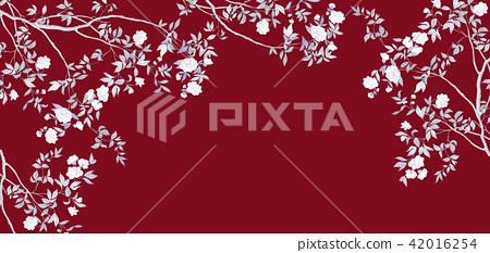 手繪樹枝和鮮花 42016254