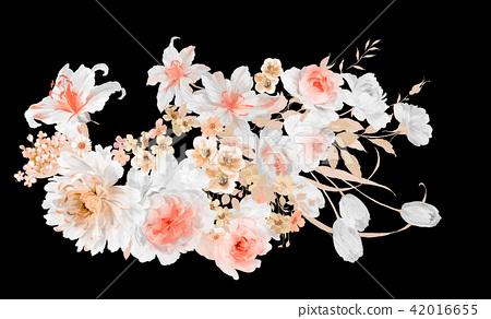水彩玫瑰花卉組合 42016655