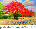 Oil painting colorful of peacock red flower 42020111