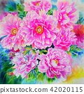 Realistic pink color of Peonies flower 42020115