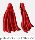 Vector set of red cloaks, flowing silk fabrics 42022551