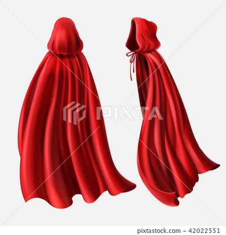 Vector set of red cloaks, flowing silk fabrics 42022551