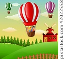 Happy cartoon kids flying in a hot air balloon 42022558