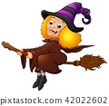 Halloween witch flying on broom 42022602