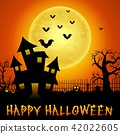 Halloween haunted castle with bats and trees  42022605