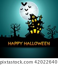 Halloween night background with castle, trees 42022640