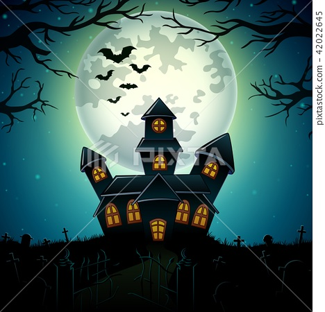 Halloween night background with castle 42022645