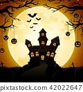 Halloween haunted castle with pumpkins hanging 42022647